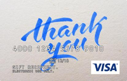 Corp Visa Gift Cards - Thank You Message & Design in Blue
