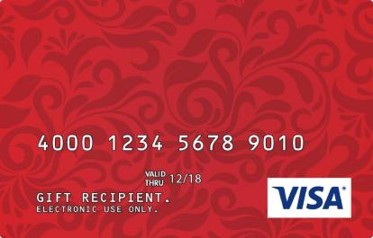 Corporate Visa Gift Card with a Red Damask Design