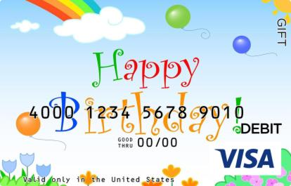 Flowers and Birthday Visa Gift Card
