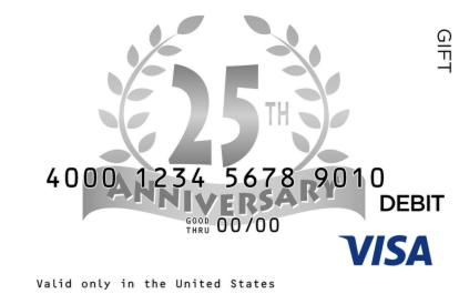 25th Anniversary Visa Gift Card