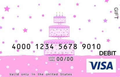 Hot Pink Cake Visa Gift Card