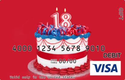 18th Birthday Visa Gift Card