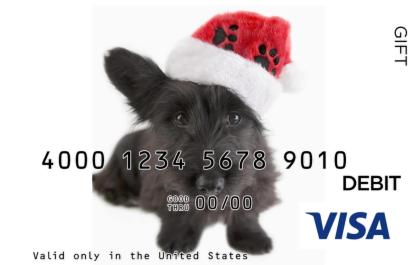 Christmas Dog Visa Gift Card