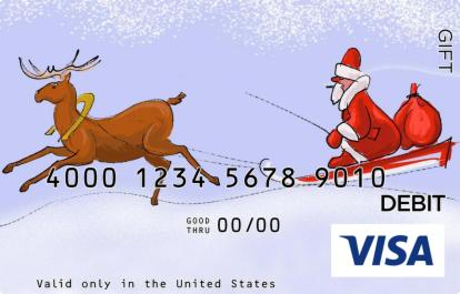 Santa Claus in Sleigh Visa Gift Card