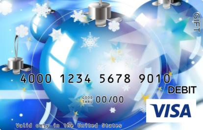 Blue Ornaments Visa Gift Card