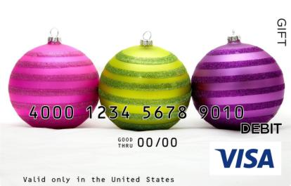 Green & Purple Ornaments Visa Gift Card