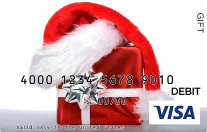 Santa Hat and Present Visa Gift Card
