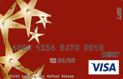 Red and Gold Stars Visa Gift Card