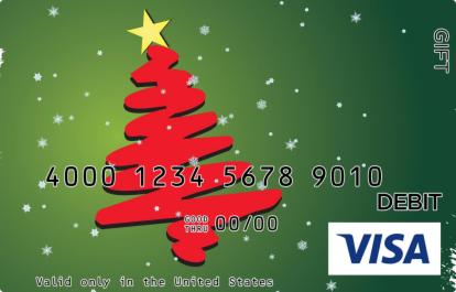 Green and Red Christmas Visa Gift Card