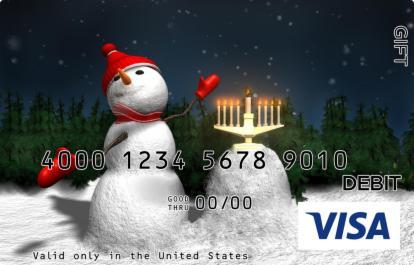 Snowman and Menorah Visa Gift Card