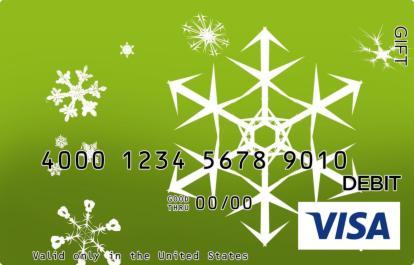 Green Snowflakes Visa Gift Card