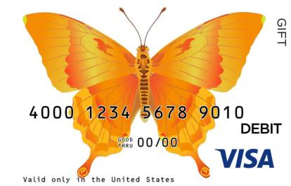 Orange Butterfly Visa Gift Card