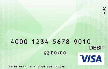 White and Green Visa Gift Card