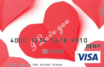 Cut Out I Love You Visa Gift Card