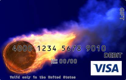Flaming Basketball in Blue Visa Gift Card