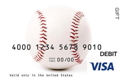 Close-Up Baseball Visa Gift Card
