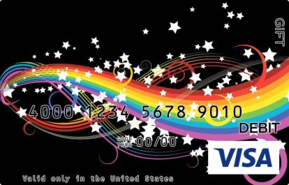 Rainbow on Black Visa Gift Card