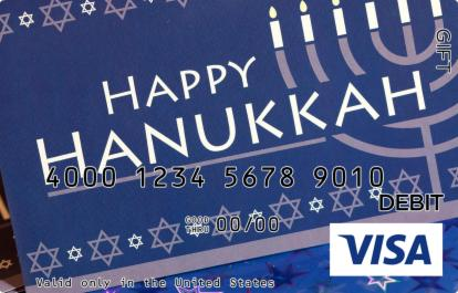 Happy Hanukkah with Stars Visa Gift Card