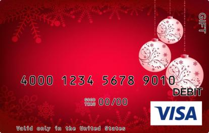 Red Ornaments Visa Gift Card