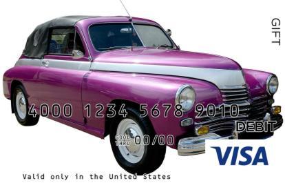 Purple Vintage Ride Visa Gift Card