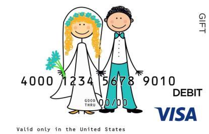 Cartoon Wedding Visa Gift Card