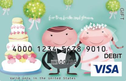 Cartoon Wedding Cake Visa Gift Card