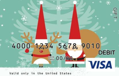 Santa and Rudolf Visa Gift Card