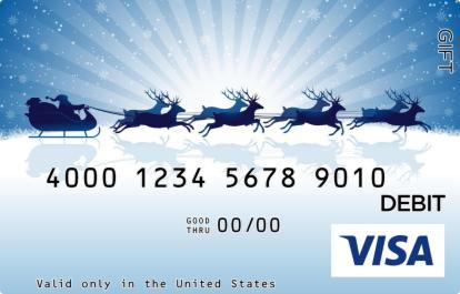 Blue Santa Silhouette Visa Gift Card