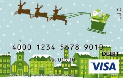 Reindeer Pulling Santa Visa Gift Card
