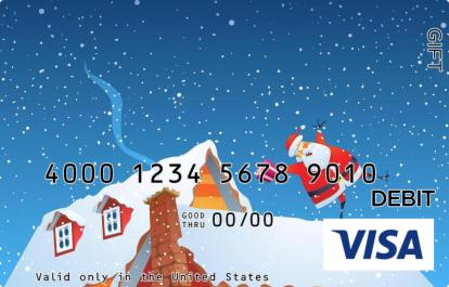 Santa on the Roof Visa Gift Card
