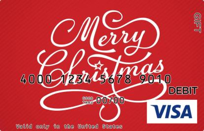 Cursive Merry Christmas Visa Gift Card