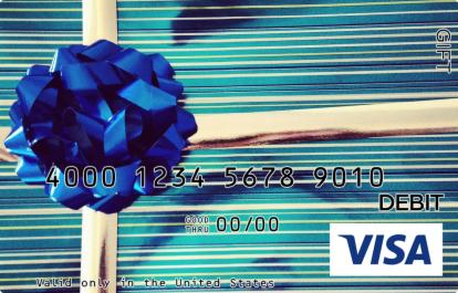 Blue Bow with Stripes Visa Gift Card