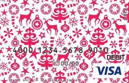 Red Holiday Patterns Visa Gift Card
