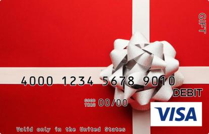 Silver Bow on Red Visa Gift Card