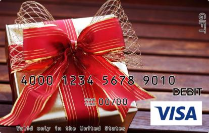 Red and Gold Present Visa Gift Card