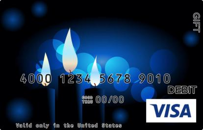 Candles on Blue Visa Gift Card