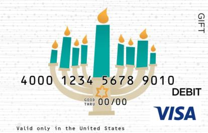 Teal Menorah Visa Gift Card