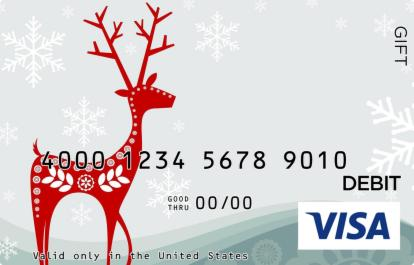 Red Reindeer Visa Gift Card