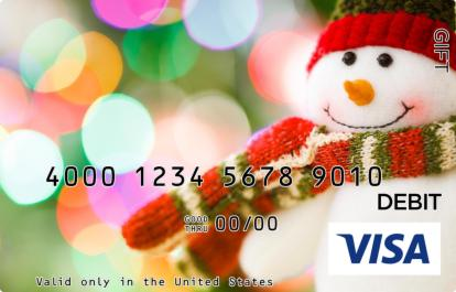 Snowman in a Scarf Visa Gift Card