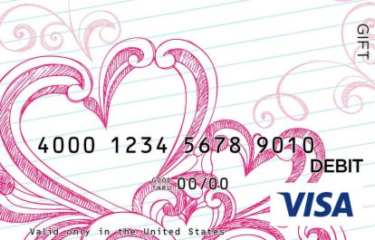 Notebook Heart Visa Gift Card