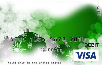 Green Ornaments Visa Gift Card
