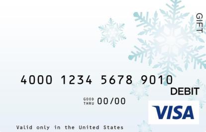 Light Blue Snowflake Visa Gift Card