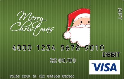 Green Santa Peeking Visa Gift Card