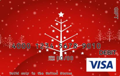 Red and White Tree Visa Gift Card