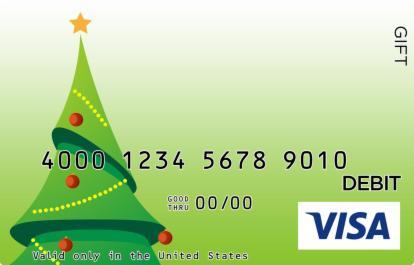 Whimsical Christmas Tree Visa Gift Card