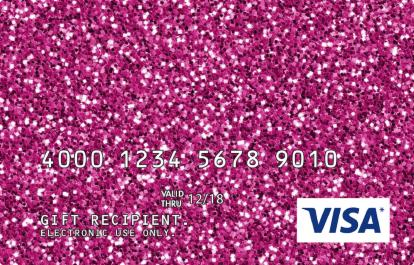 Visa Gift Card with Pink Glitter Design