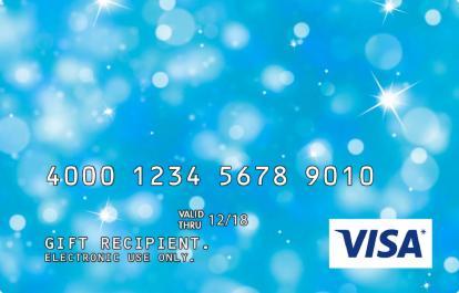 Visa Gift Card with Blue Sparkle Design