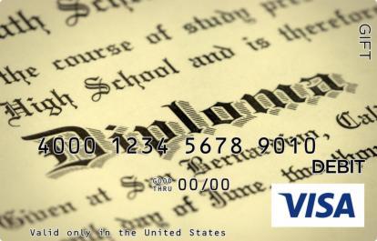 Black and White Diploma Visa Gift Card