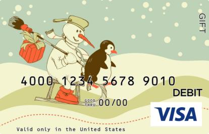Sledding Snowman Visa Gift Card