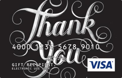 Visa Prepaid Card with Thank You Design in Black